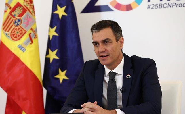 El presidente del Gobierno, español, Pedro Sánchez, interviene durante la clausura del el V Foro Regional de la Unión por el Mediterráneo (UpM) / EFE