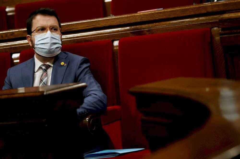 El vicepresidente de la Generalitat, Pere Aragonès (ERC) en una reciente imagen en el Parlament de Cataluña