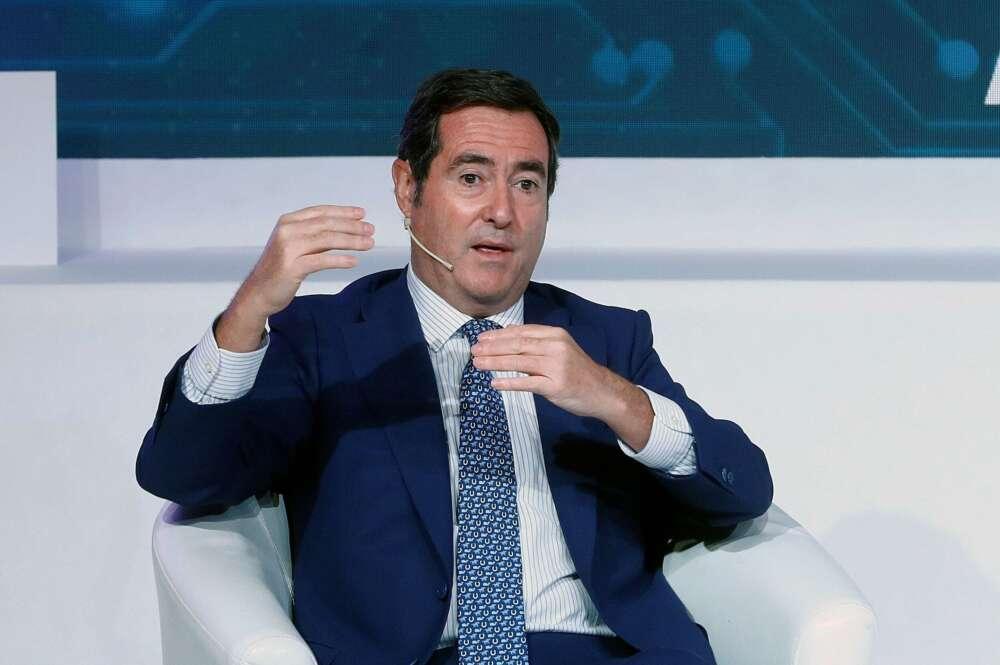 El presidente de CEOE, Antonio Garamendi, durante el 23 Congreso Nacional de la Empresa Familiar celebrado este lunes en Casa América, en Madrid. EFE/Ballesteros POOL