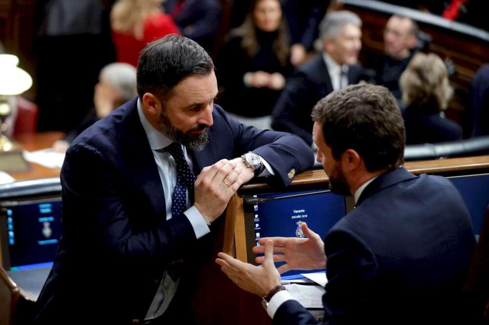 El presidente del Partido Popular, Pablo Casado,d., y el líder de Vox, Santiago Abascal,iz., conversan durante la sesión constitutiva de la Cámara Baja. EFE/Ballesteros