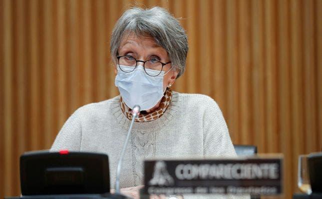 La administradora provisional única de RTVE desde julio de 2018, Rosa María Mateo, comparece ante la comisión de control a la corporación, el 29 de octubre de 2020 en el Congreso de los Diputados | EFE/EN/Pool/Archivo