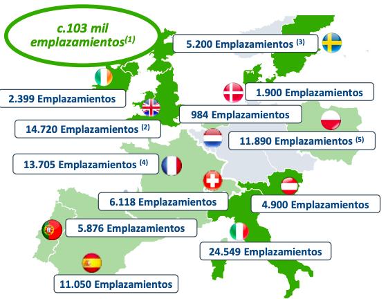 Activos de Cellnex por países tras la compra de las torres de Hutchison, anunciada en noviembre de 2020. Imagen: Cellnex