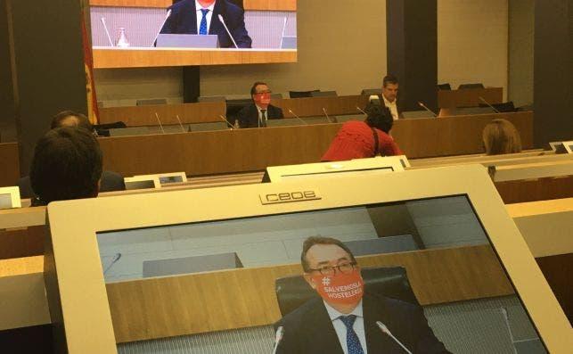 José Luis Yzuel, presidente de Hostelería de España, durante la presentación del 'Anuarío de la Hostelería. Fuente:Twitter/@CEHEhosteleria
