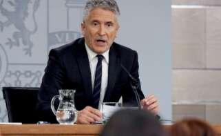 El ministro del Interior, Fernando Grande-Marlaska, en una rueda de prensa en octubre en la Moncloa. /EFE/Zipi