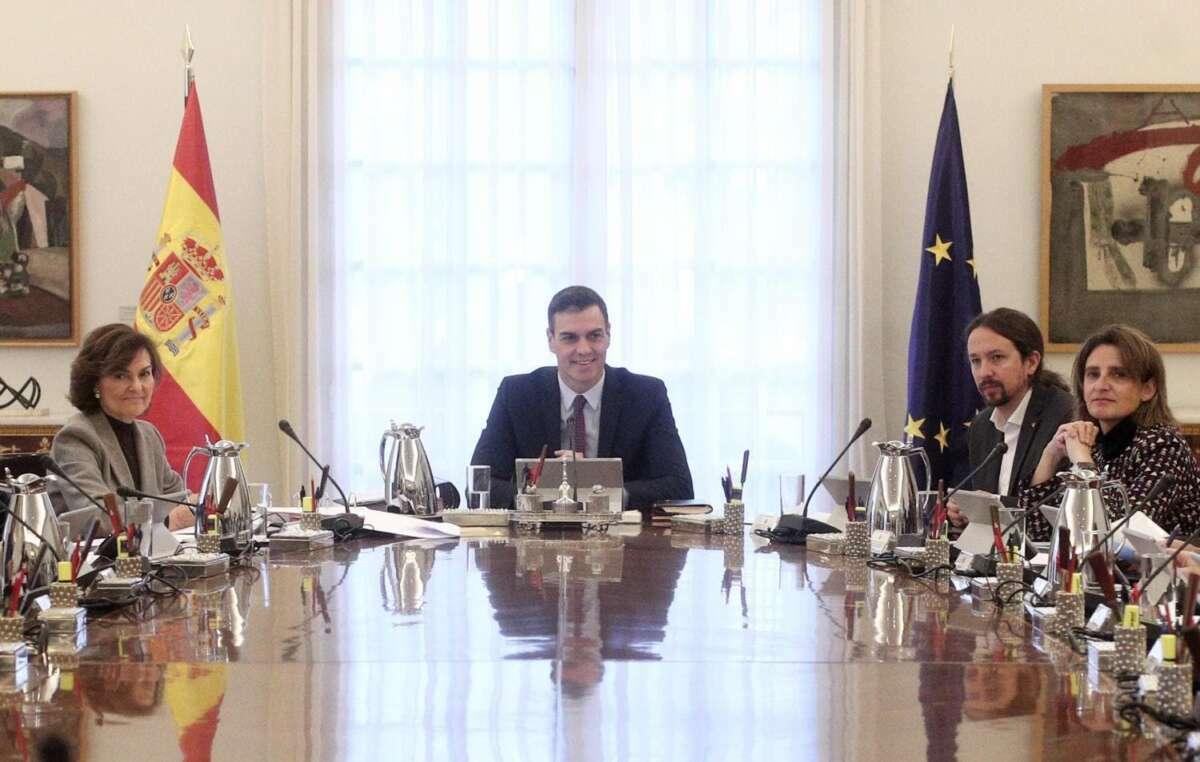 Pedro Sánchez en una foto de archivo del primer Consejo de Ministros./ EFE