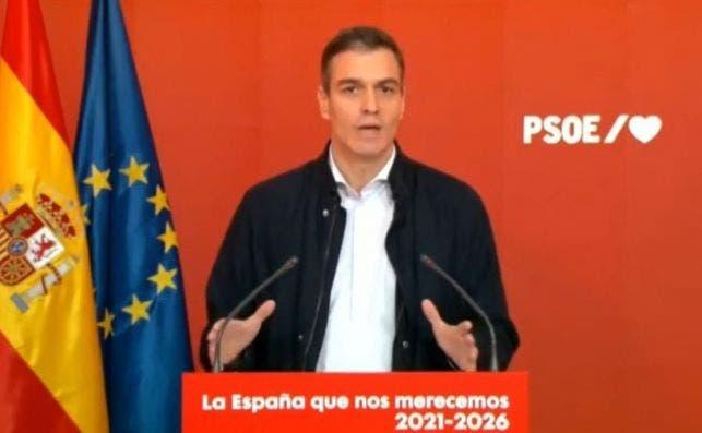 """Pedro Sánchez este sábado en la  presentación del acto """"La España que nos merecemos 2021-2026"""" en la sede socialista de Ferraz."""