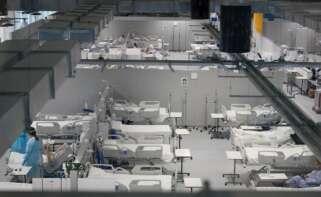 Imagen del interior del Hospital Isabel Zendal que ha abierto un nuevo pabellón ante el avance de la tercera ola. EFE