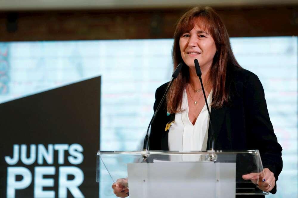 La candidata de JxCat a la presidencia de la Generalitat, Laura Borràs durante el acto de campaña celebrado este viernes en Reus. EFE/Susanna Sáez
