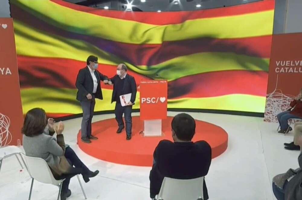 Salvador Illa y Miquel Iceta durante el primer acto de precampaña del PSC para las elecciones catalanas del 14-F, el 3 de enero de 2021 en Barcelona   EFE/Archivo
