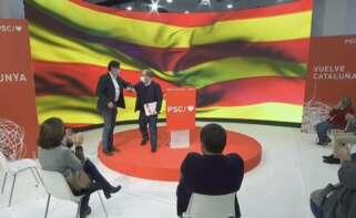 Salvador Illa y Miquel Iceta durante el primer acto de precampaña del PSC para las elecciones catalanas del 14-F, el 3 de enero de 2021 en Barcelona | EFE/Archivo