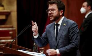 El presidente en funciones de la Generalitat, Pere Aragonès, comparece en el Parlament. EFE/ Quique García