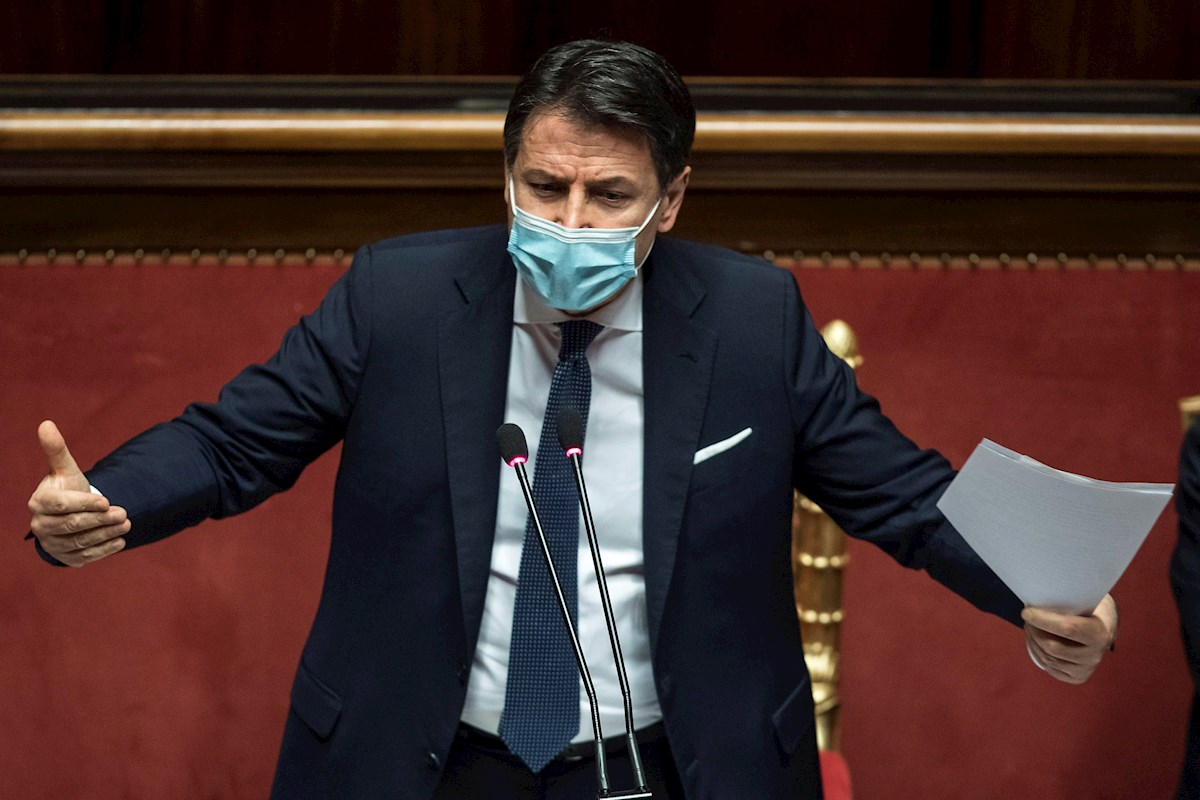 El primer ministro italiano, Giuseppe conte, comparece en el Senado. EFE