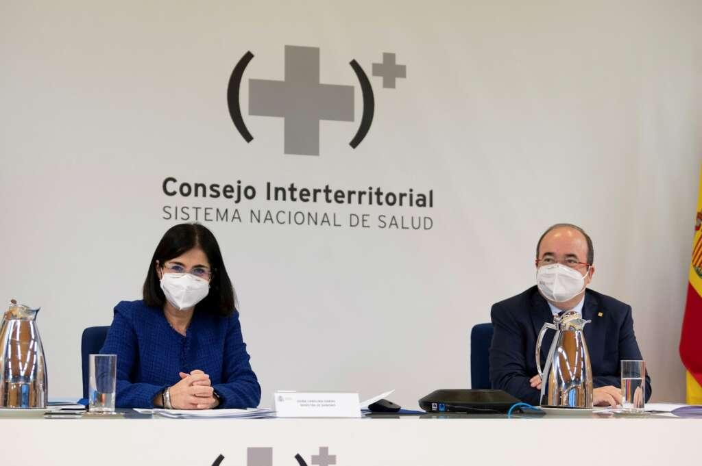 La ministra de Sanidad, Carolina Darias, y el ministro de Política Territorial, Miquel Iceta, presiden por primera vez en sus nuevos cargos el Consejo Interterritorial del Sistema Nacional de Salud, el 28 de enero de 2021 | EFE/BPDLB/Moncloa