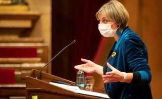 La consellera de sanidad, Alba Vergés durante su comparecencia ante el pleno del Parlament. EFE/Marta Pérez