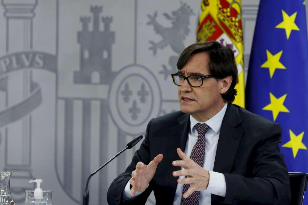 El ministro de Sanidad y candidato del PSC a la presidencia de la Generalitat, Salvador Illa, durante la rueda de prensa posterior a la reunión semanal del Consejo de ministros, este martes en Moncloa. EFE/ Ballesteros