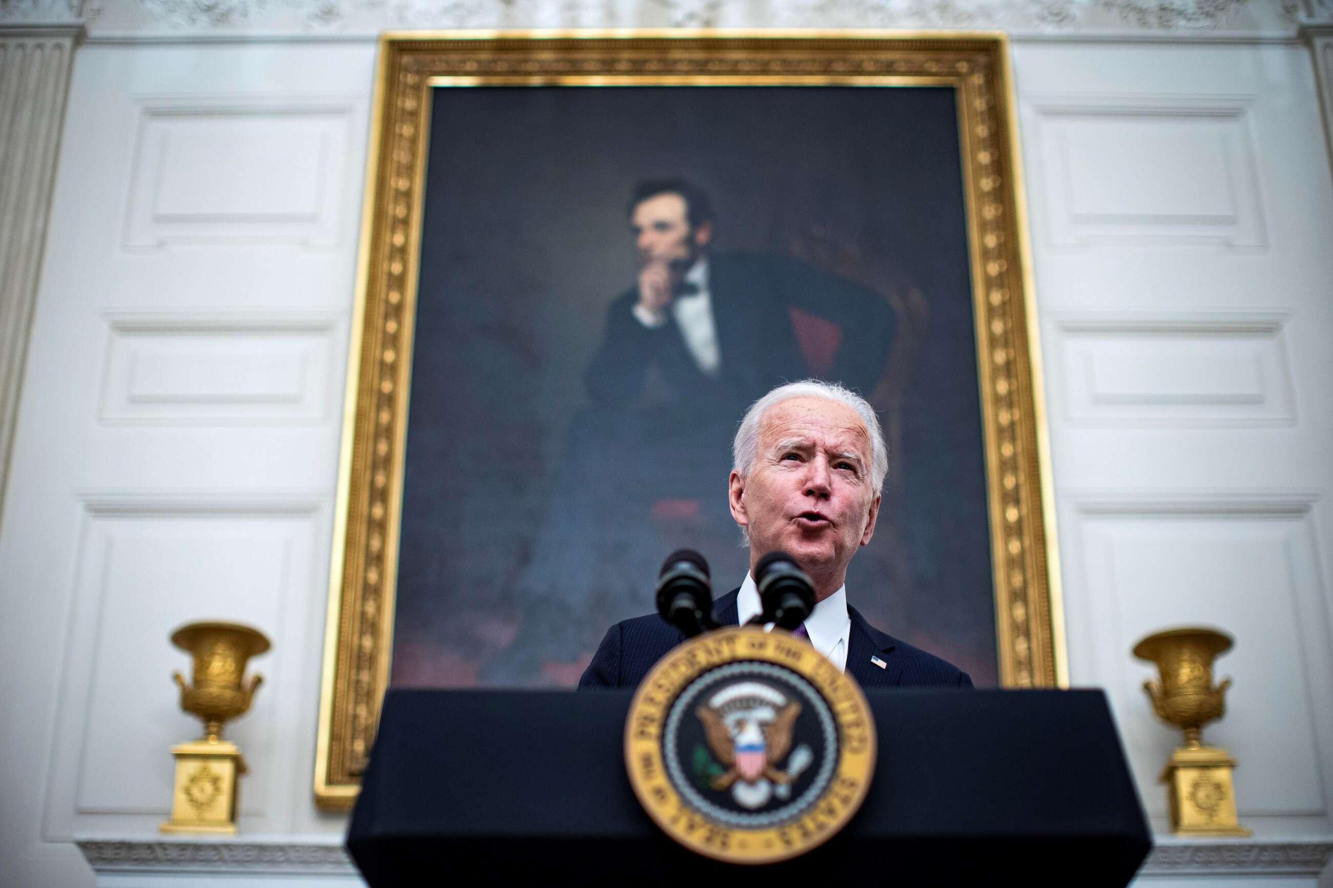El presidente de Estados Unidos, Joe Biden, habla sobre la covid-19 en Washington, DC, Estados Unidos, este 21 de enero de 2021. EFE/EPA/Al Drago