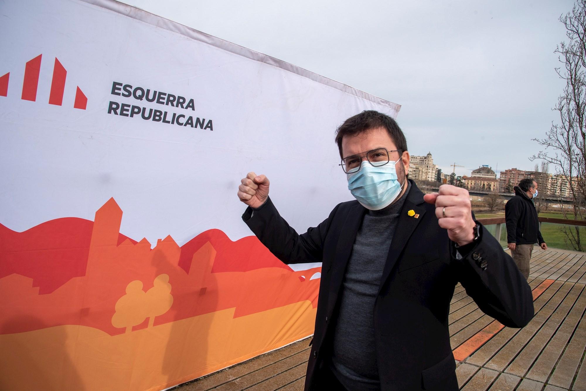 El vicepresidente del Govern en funciones de presidente, Pere Aragonès, en un acto preelectoral de ERC en Lleida, el 23 de enero de 2021 | EFE/RG/Archivo