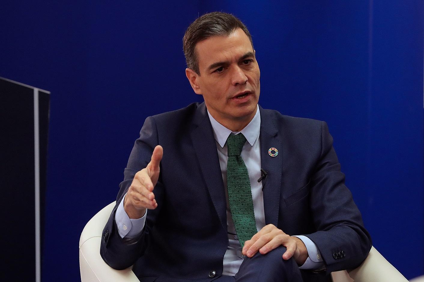 El presidente del Gobierno, Pedro Sánchez, durante el encuentro 'Fondos Europeos, las claves para la recuperación', organizado por la agencia Efe y KPMG, el 20 de enero de 2021 | EFE/JJM/Pool
