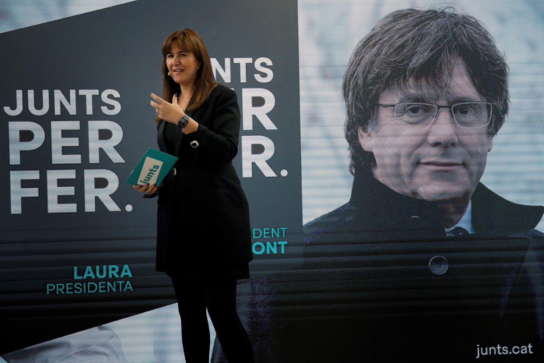 La candidata a la presidencia de la Generalitat por JxCat, Laura Borràs, en un acto de campaña. | EFE/ Toni Albir/Archivo