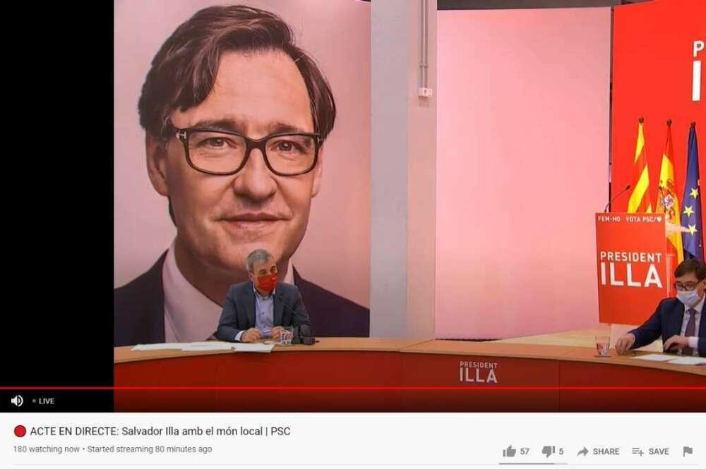 El primer teniente de alcalde de Barcelona, Jaume Collboni, y el candidato socialista a la Generalitat, Salvador Illa, en un acto de campaña del PSC, emitido por Youtube el 29 de enero de 2021 | Youtube/PSCtv