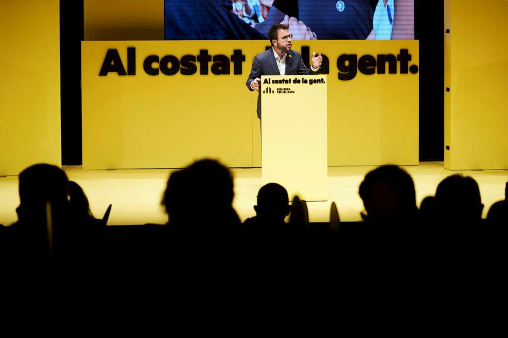 El candidato de ERC al 14-F, Pere Aragonès, durante el acto de inicio de campaña, el 28 de enero de 2021 en Mataró   EFE/AG
