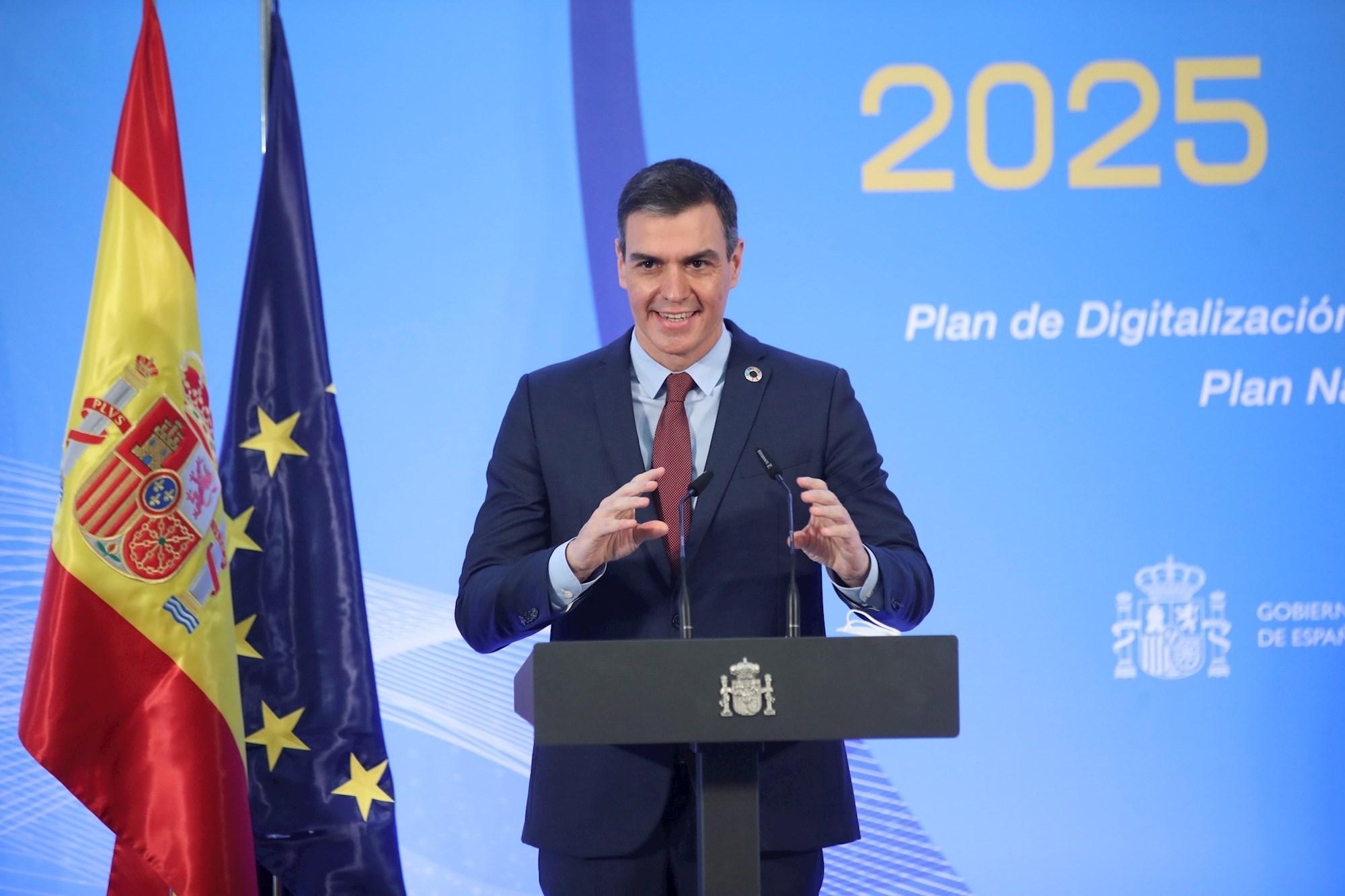 El presidente del Gobierno, Pedro Sánchez, en un acto en el Palacio de la Moncloa | EFE/DF