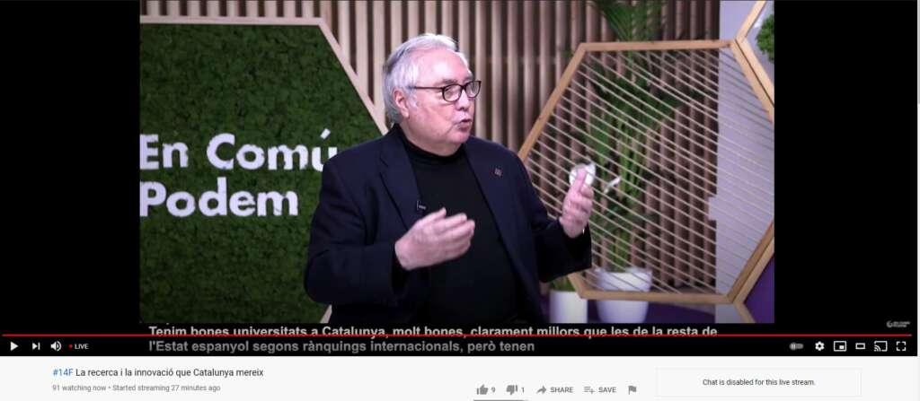 El ministro de Universidades, Manuel Castells, en un acto electoral de En Comú-Podem, transmitido por Youtube el 29 de enero de 2021 | Youtube/EnComuPodemTV