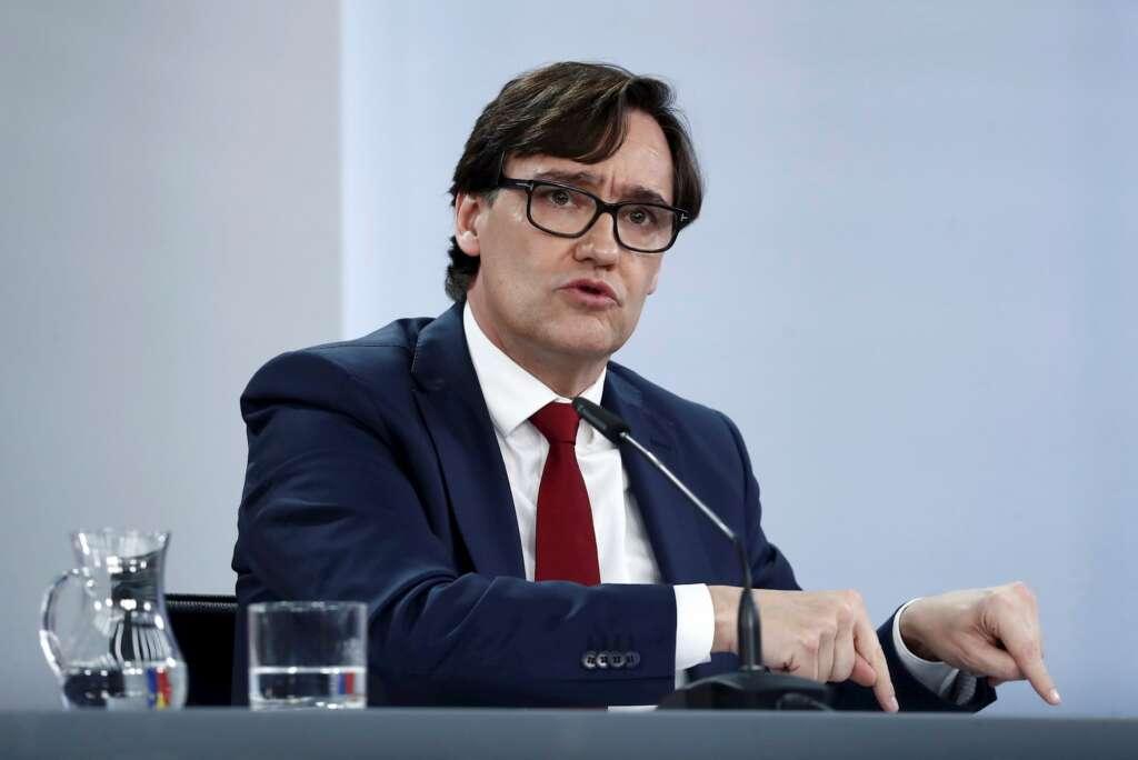 El ministro de Sanidad y candidato del PSC al Parlament de Cataluña, Salvador Illa, en una rueda de prensa el 13 de enero de 2021 en La Moncloa | EFE/Mariscal