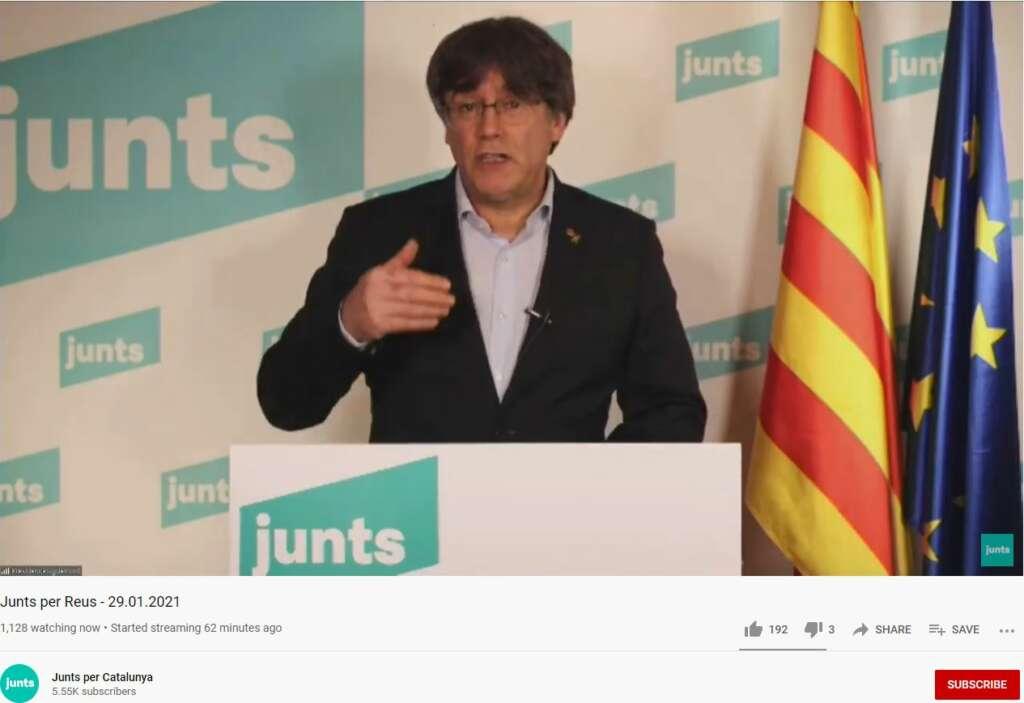 El líder y candidato simbólico de JxCat, el 'expresident' Carles Puigdemont, interviene telemáticamente en un acto electoral, el 29 de enero de 2021 | Youtube/Junts per Catalunya