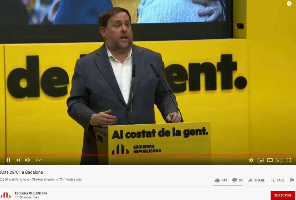 El presidente de ERC y preso del 'procés', Oriol Junqueras, en un mitin en Badalona el 29 de enero de 2021 | Youtube/Esquerra Republicana
