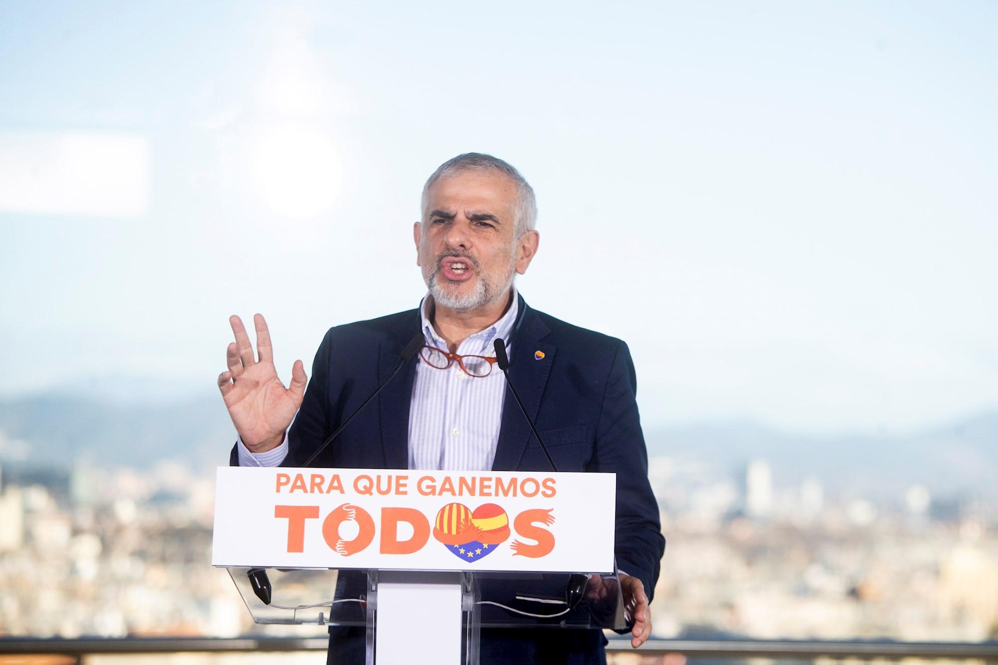 El candidato de Ciudadanos al 14-F, Carlos Carrizosa, durante un acto electoral celebrado en Barcelona el 1 de febrero de 2021 | EFE/MP