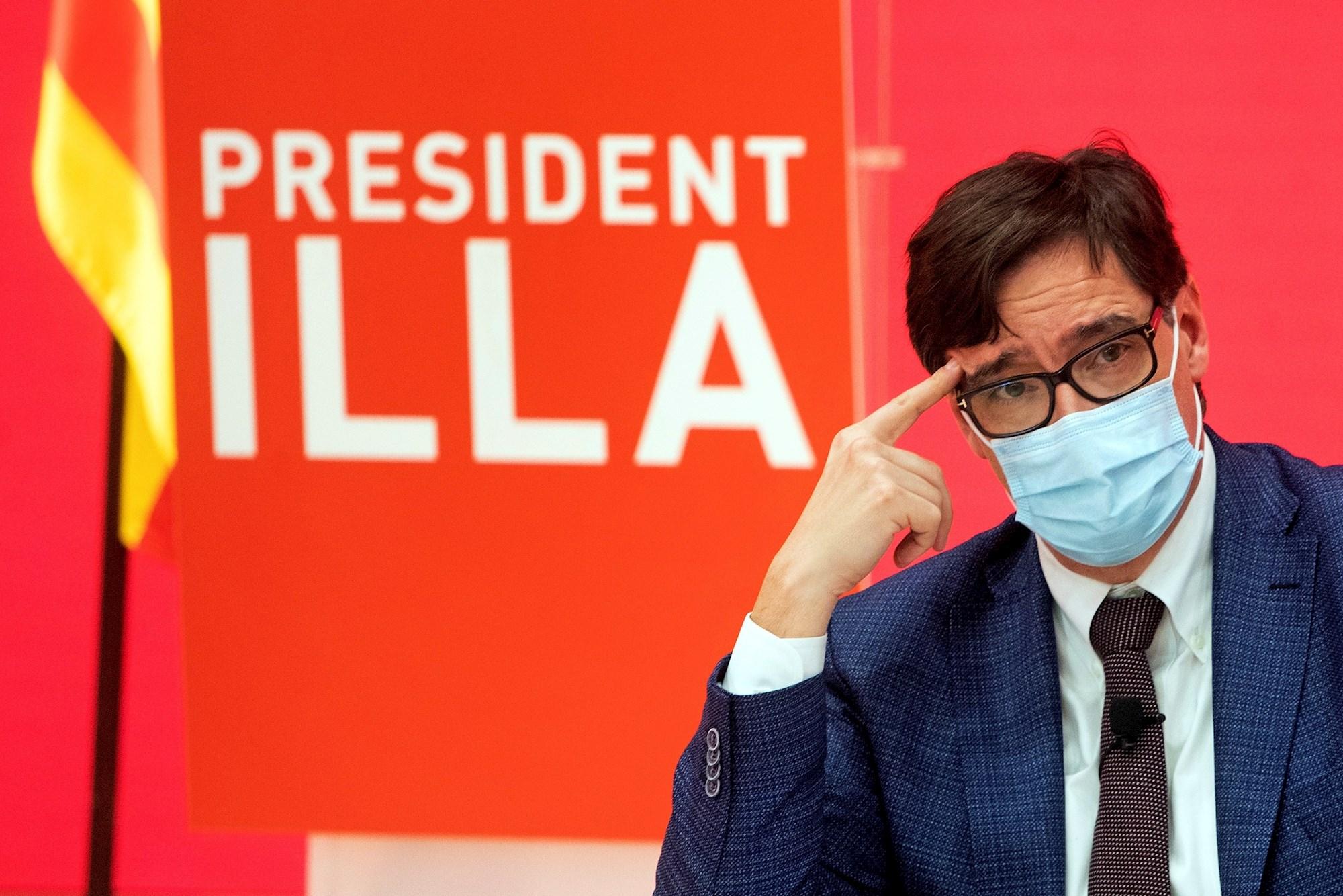 El candidato del PSC al 14-F, Salvador Illa, durante un acto electoral en Barcelona, el 3 de febrero de 2021 | EFE/MP