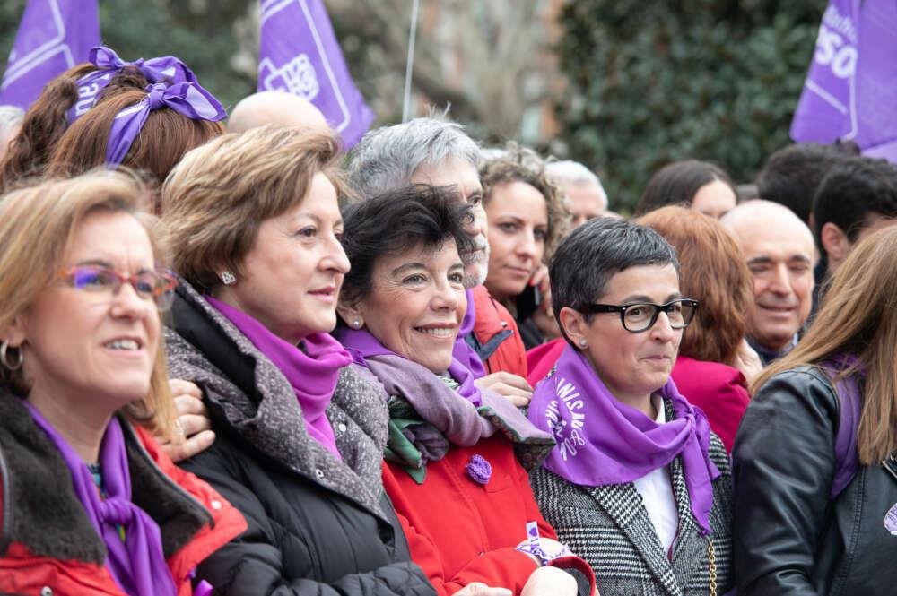 La ministra de Exteriores, Arantxa González Laya; de Educación, Isabel Celaá; y de Interior, Fernando Grande-Marlaska, en la manifestación del 8-M de 2020 / PSOE