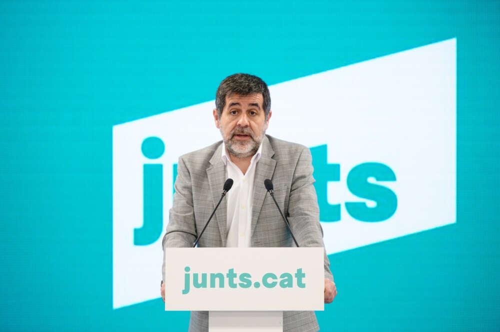 El secretario general de JxCat y preso del 'procés', Jordi Sànchez, durante una rueda de prensa el 15 de febrero de 2021 en Barcelona | JxCat/Julio Diaz