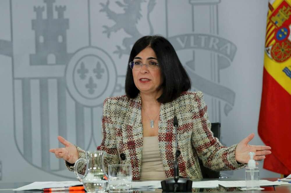 La ministra de Sanidad, Carolina Darias, comparece en rueda de prensa.. EFE/ Juan Carlos Hidalgo