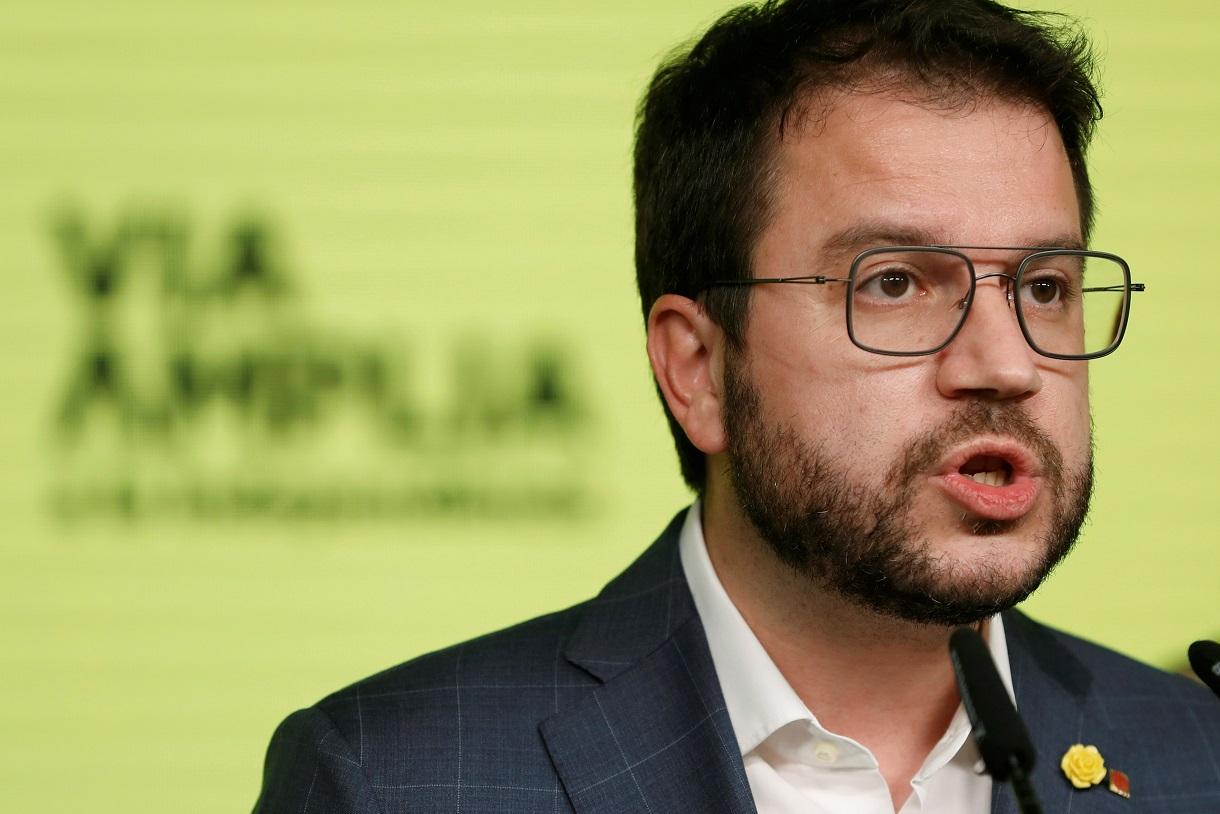El candidato de ERC y actual vicepresidente de la Generalitat, Pere Aragonès, durante la valoración de los resultados electorales, el 14 de febrero de 2021 | EFE/AE/Pool