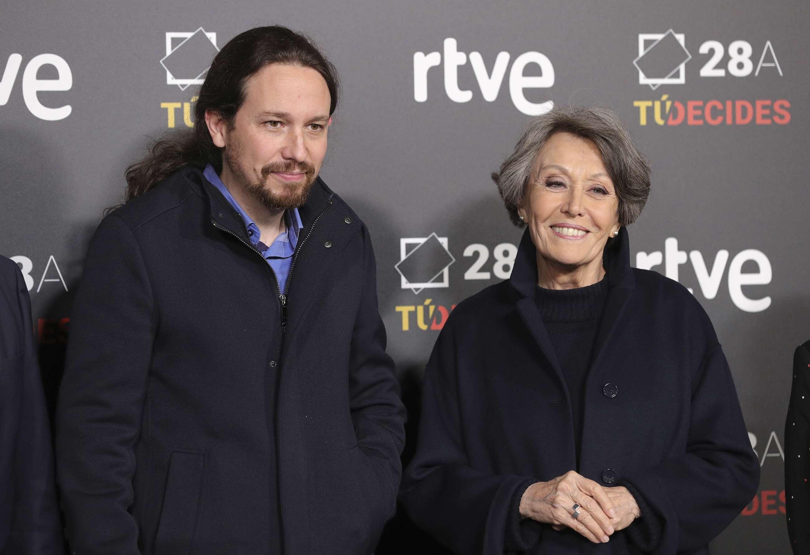 Pablo Iglesias y la administradora única de RTVE, Rosa María Mateo, a la llegada del líder de Podemos al debate de las elecciones del 28-A, el 22 de abril de 2019 en Madrid | EFE/JJM/Archivo