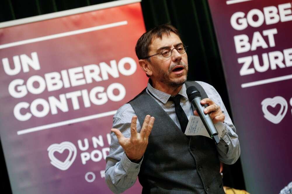 El cofundador de Podemos, Juan Carlos Monedero, en un acto electoral en Pamplona, en noviembre de 2019 | EFE/VL/Archivo