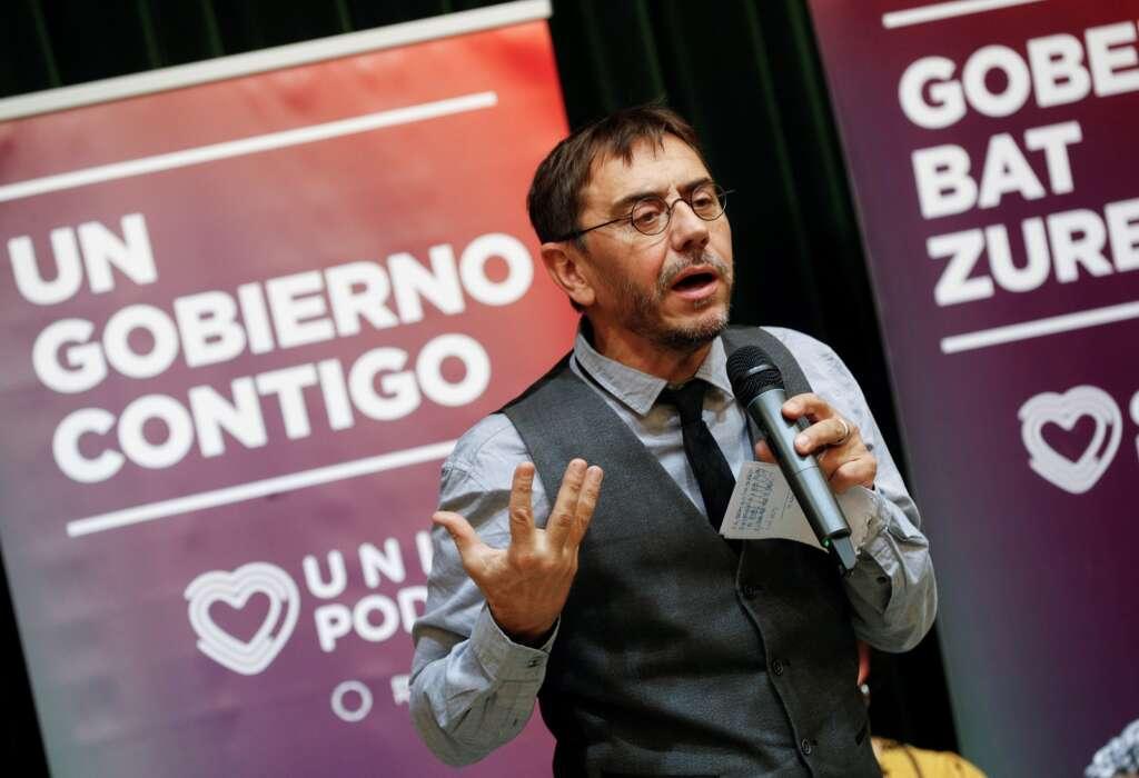 El cofundador de Podemos, Juan Carlos Monedero, en un acto electoral en Pamplona, en noviembre de 2019   EFE/VL/Archivo