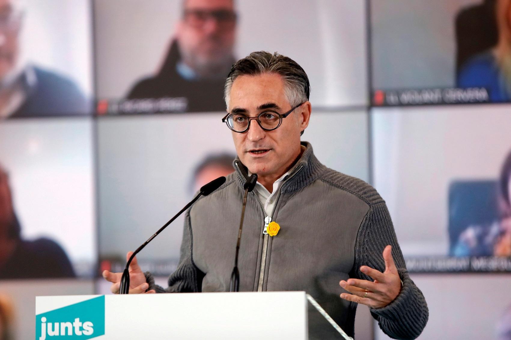 El consejero de Empresa y Conocimiento y también candidato de JxCat por Lleida, Ramon Tremosa, durante un acto electoral el 24 de enero de 2021 en Vilafranca del Penedès (Barcelona) | EFE/SS/Archivo