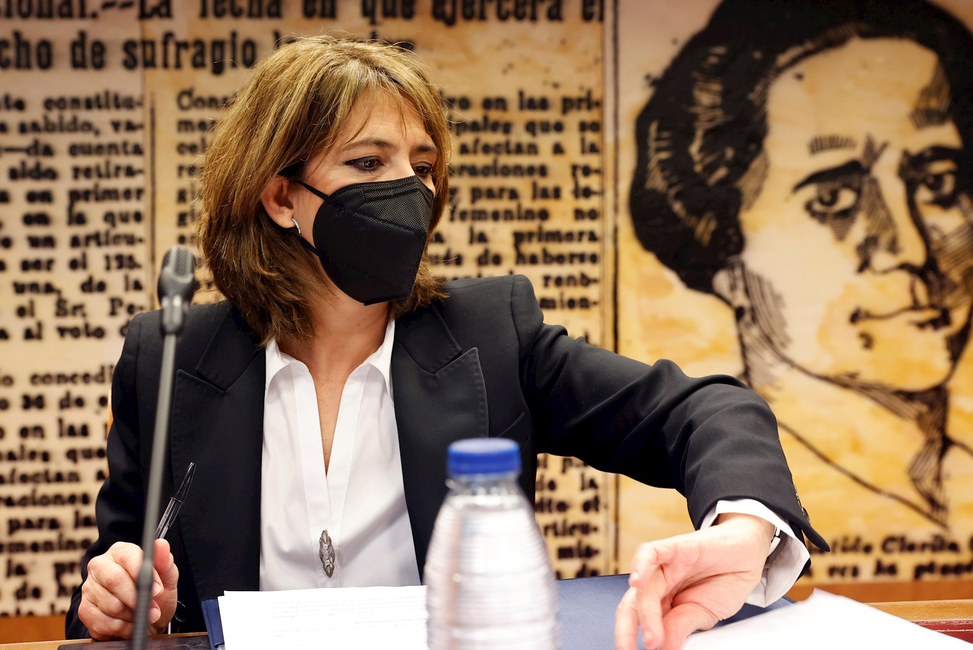 La fiscal general del Estado, Dolores Delgado preside este martes en la Comisión de Justicia del Senado para presentar la memoria de la Fiscalía de 2019. EFE/Zipi