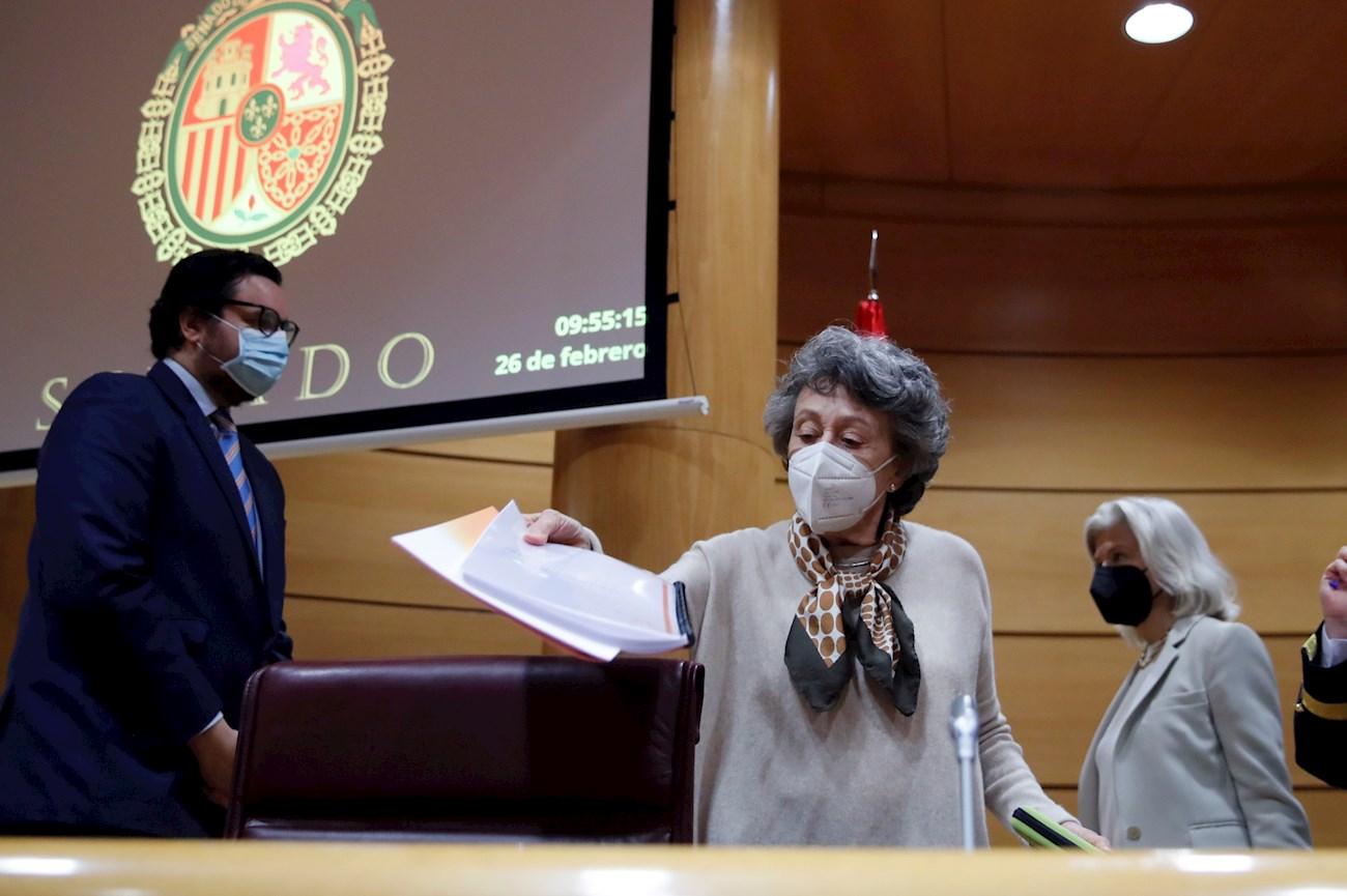 La administradora provisional única de RTVE, Rosa María Mateo, al inicio de su última comparecencia ante la comisión mixta de control parlamentario del ente, el 26 de febrero de 2020 | EFE/JCH