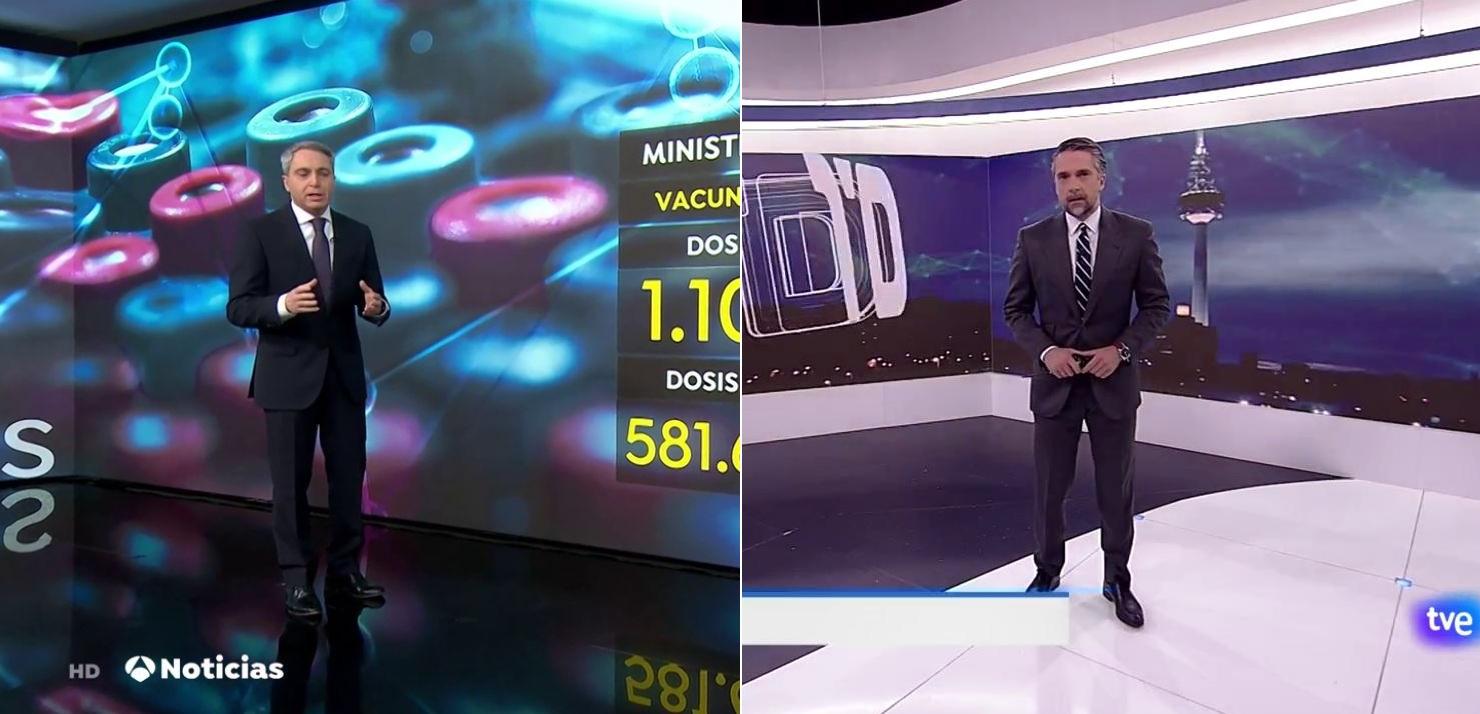 El presentador de los informativos nocturnos de Antena 3, Vicente Vallés, y el de los de La 1 de TVE, Carlos Franganillo | Antena 3/RTVE/Archivo
