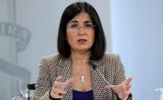 La ministra de Sanidad, Carolina Darias, comparece en rueda de prensa en La Moncloa. EFE/Kiko Huesca