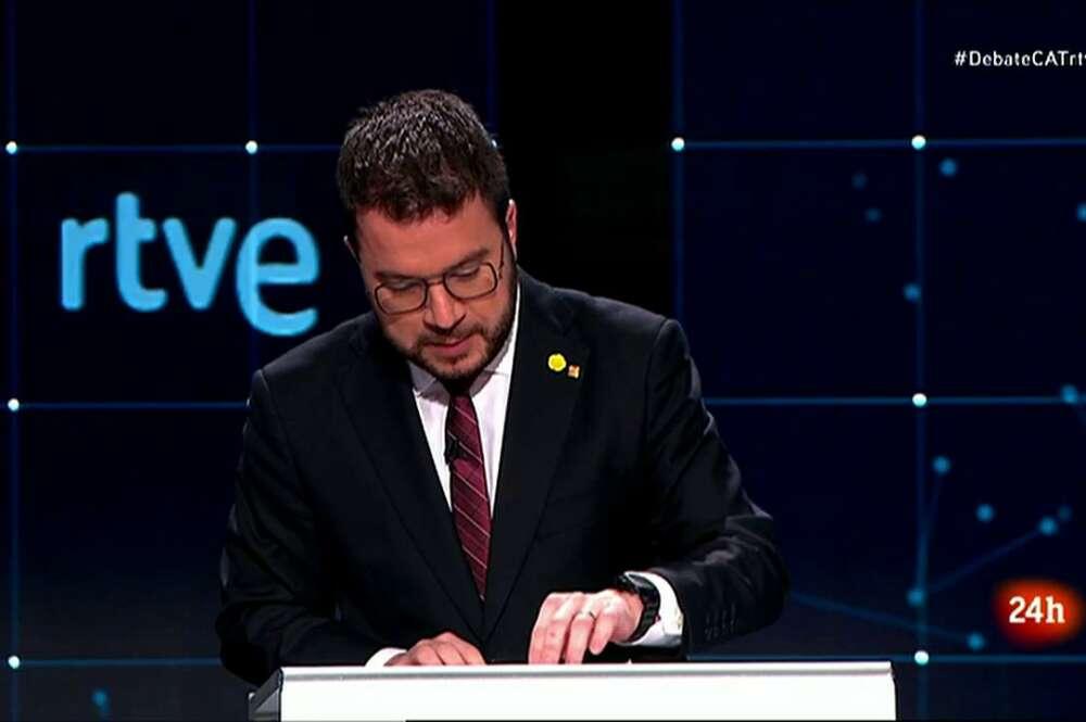 El candidato de ERC al 14-F, Pere Aragonès, durante el debate electoral emitido por TVE el 31 de enero de 2021   RTVE