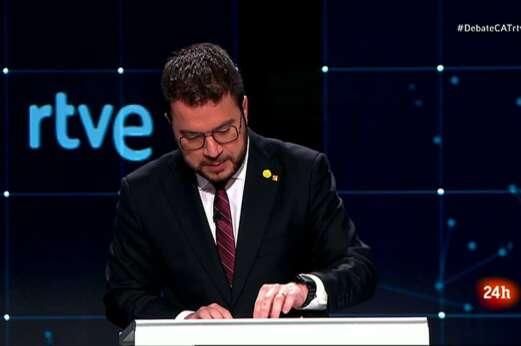 El candidato de ERC al 14-F, Pere Aragonès, durante el debate electoral emitido por TVE el 31 de enero de 2021 | RTVE