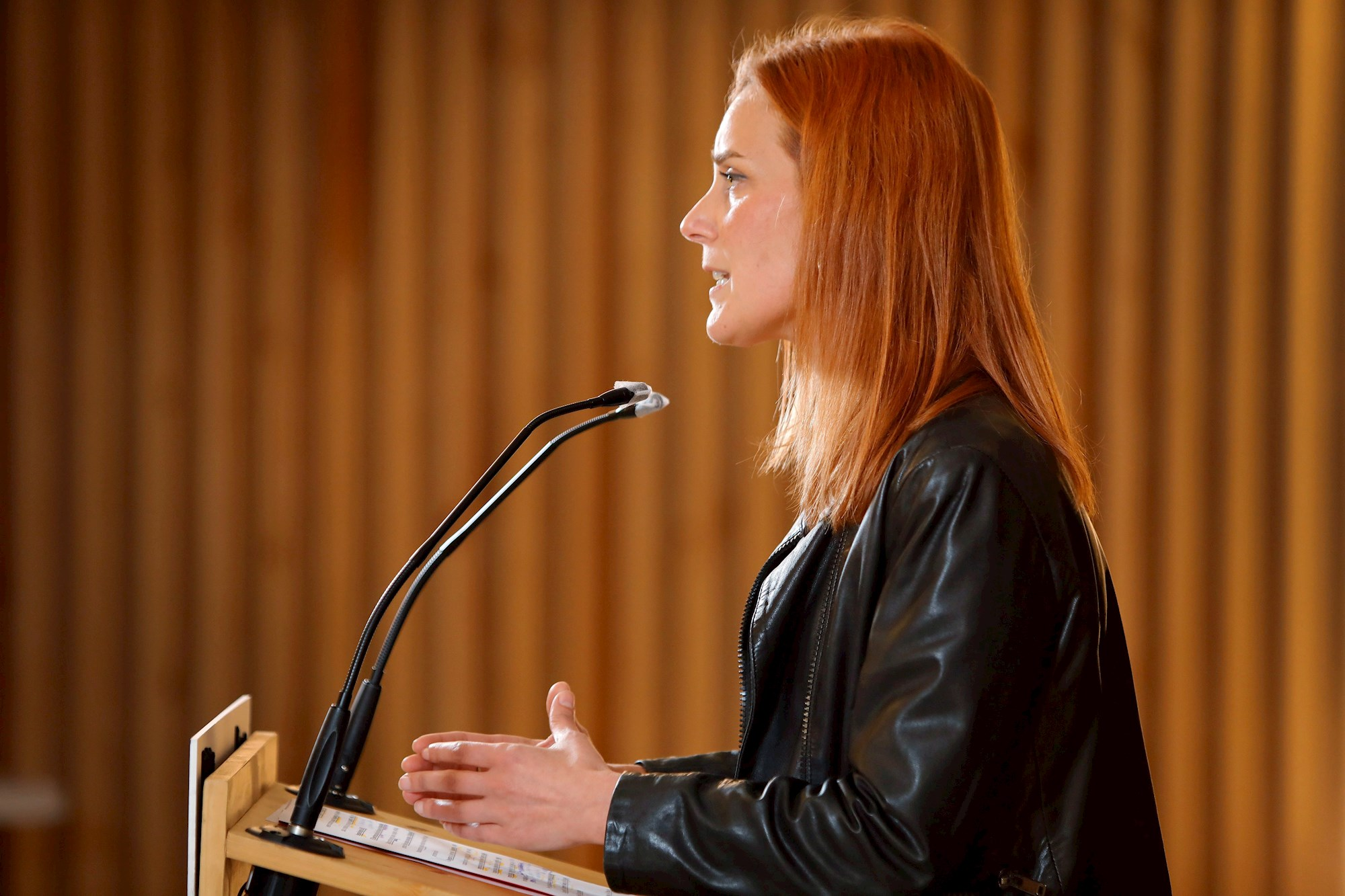 La candidata de En Comú-Podem, Jéssica Albiach, durante su comparecencia el 14 de febrero de 2021 para valorar los resultados de las elecciones catalanas | EFE/SS