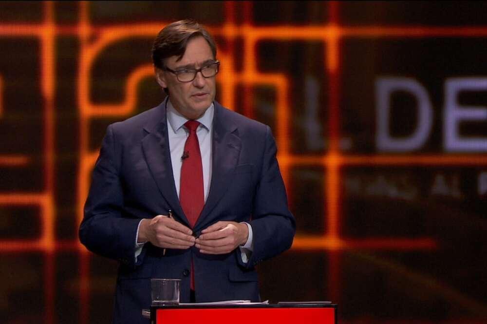 El candidato del PSC, Salvador Illa, en el debate electoral del 14-F en TV3, el 9 de febrero de 2021   CCMA