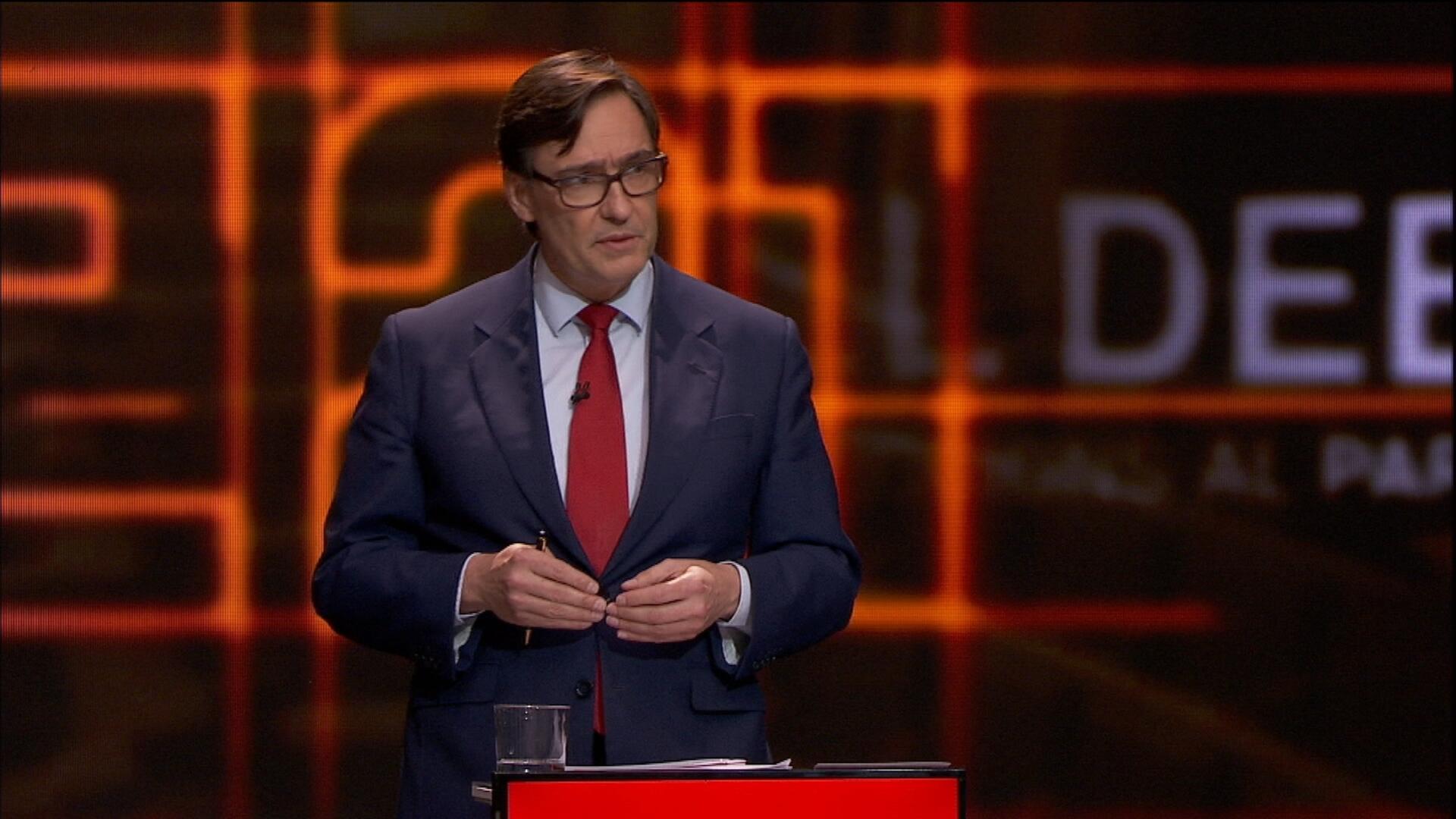 El candidato del PSC, Salvador Illa, en el debate electoral del 14-F en TV3, el 9 de febrero de 2021 | CCMA