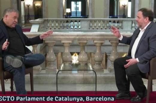 Antonio García Ferreras entrevista a Oriol Junqueras desde el Parlament de Cataluña en plena campaña electoral del 14-F, el 2 de febrero de 2021 | La Sexta